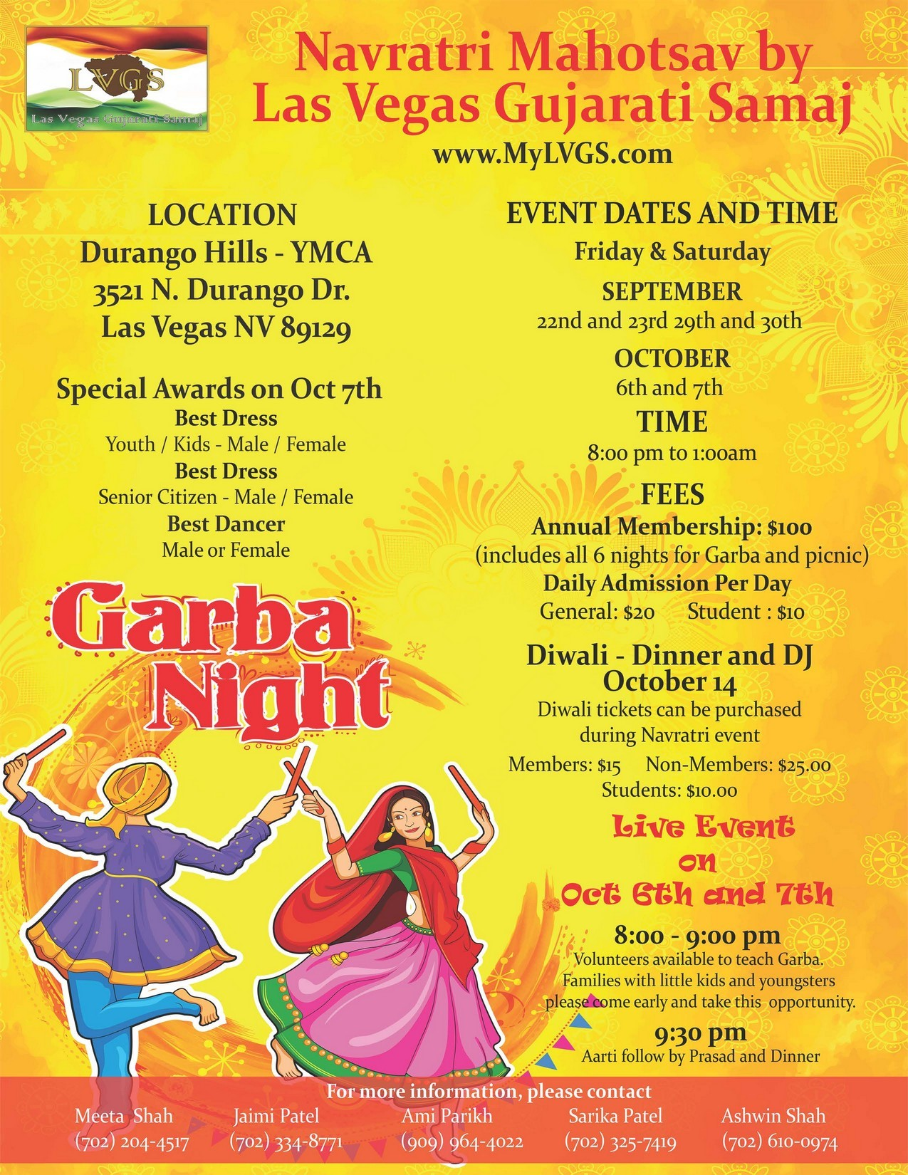 Navratri celebrations by las vegas gujarati samaj vegasdesi festival season is here and once again the las vegas gujarati samaj invites the community to their annual three weekends beginning september 22nd stopboris Image collections
